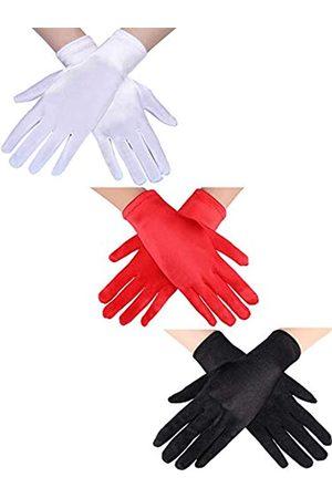Sumind 3 Paar Handgelenk Länge Handschuhe Damen Kurze Satin Handschuhe Opera Kurze Handschuhen für die Hochzeitsgesellschaft der 1920er Jahre (