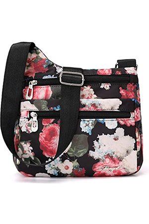 STUOYE Nylon Multi-Pocket Crossbody Geldbörse Taschen für Frauen Reise Schultertasche, (Night Rose)