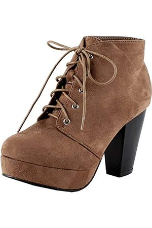 FOREVER Camille-86 Women's Comfort Stacked Chunky Heel Lace Up Ankle Booties