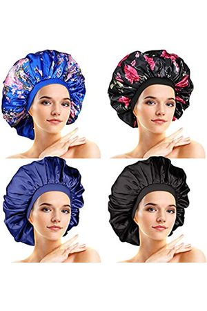 SATINIOR 4 Stücke Große Satin Schlafmütze Satin Haube Elastische Seidige Nachtmütze für Frauen Mädchen Lockiges Langes Haar (Elegantes Muster)