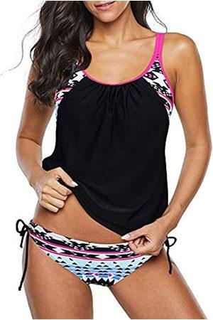 Century Star Damen Zweiteiliger Tankini Badeanzug Floral Tank Top Bikinis Gepolstert Bademode mit Boyshorts - - 40-42