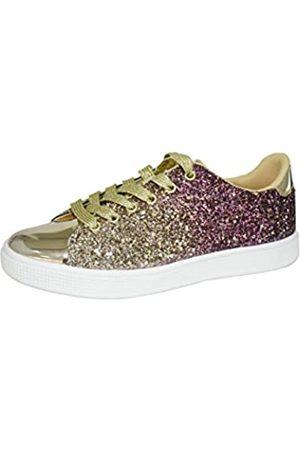 LUCKY STEP Glitzer-Sneakers, zum Schnüren, modische Sneakers, funkelnde Schuhe für Damen.