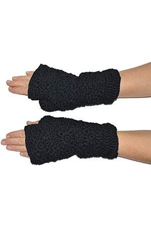 Invisible World Damen fingerlose Handschuhe aus Wolle – ideale Halbfinger Winter Strickhandschuhe mit Fleece Innenfutter –