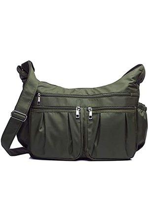 VOLGANIK ROCK Crossbody Geldbörsen für Frauen RFID Schulterhandtaschen Wasserdicht Nylon Reisetasche Pocketbooks, Grün (Armeegrün - groß)