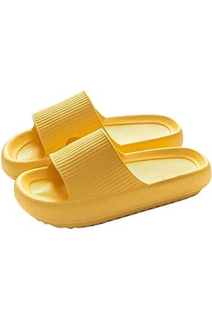 rosyclo Men's Women's Pillow Slide Slippers Comfort Slide Sandal House Air Lightweight Slippers with Extra Thick Sole Soft Bathroom Anti-Slip Shoes Quick Dry for Summer Indoor (Yellow, 44-45