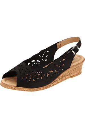 Spring Step Damen Orella Slingback Sandal2, (schwarzes Nubukleder)