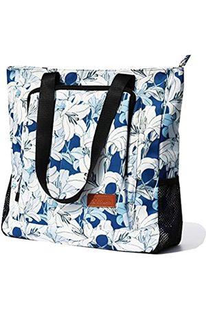 ESVAN Große Reisetasche, wasserabweisend, Schultertasche, leicht, für Männer und Frauen, Unisex, ( -Weiß-Blume)