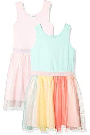 Spotted Zebra Knit Sleeveless Tutu Dresses Kleid, 2er-Pack Regenbogen/Pink