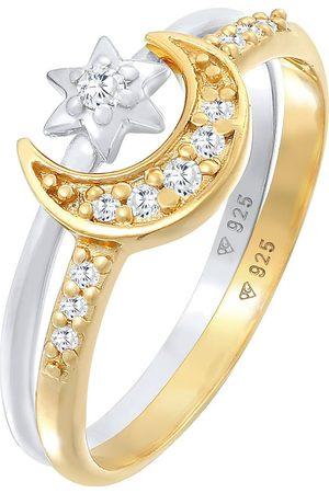 Elli Ring Stern Mond Zirkonia Stapelring 2er Set 925 Silber in , Schmuck für Damen