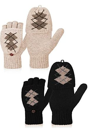 Bememo 2 Paar fingerlose Winterhandschuhe für Frauen, Strickfäustlinge für den Winter