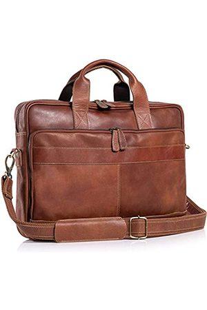 Komal's Passion Leather Herren Laptop- & Aktentaschen - Aktentasche aus Leder, 45,7 cm (18 Zoll), für Damen und Herren, für Büro, Schule, Uni, Aktentasche, Umhängetasche
