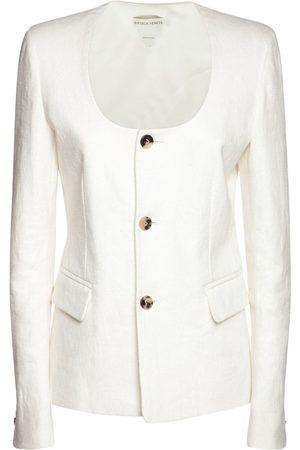 Bottega Veneta Linen Button Front Squared Neck Blazer
