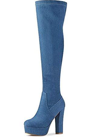 Allegra K Damen Plateau Blockabsatz Overknee Hohe Stiefel, (denim- )