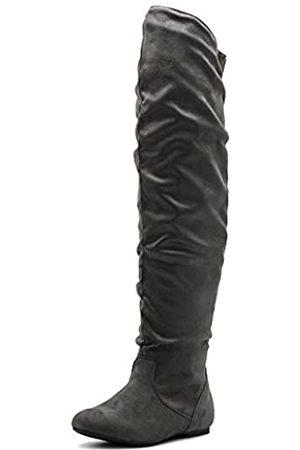 Ollio Damen Schuh Stretch Faux Wildleder oder Kunstleder Overknee Flach Falten Lange Stiefel, (Graues Wildleder)