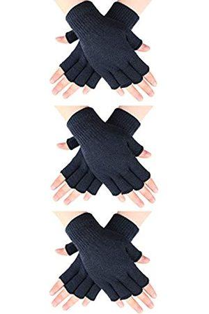 SATINIOR 3 Paar Halb Fingerhandschuhe Winter Fingerlose Handschuhe Strickhandschuhe für Männer Frauen (Dunkelgrau)