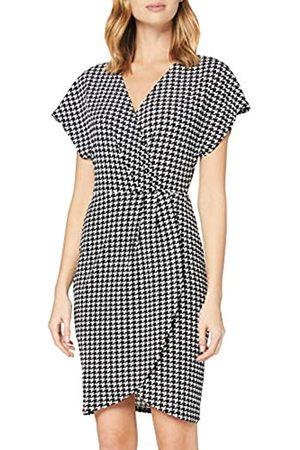 Mela Damen London-WRAP Front Dogtooth Printed Dress Lässiges Kleid