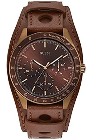 Guess Herren Analog Quarz Uhr mit Leder Armband W1100G3