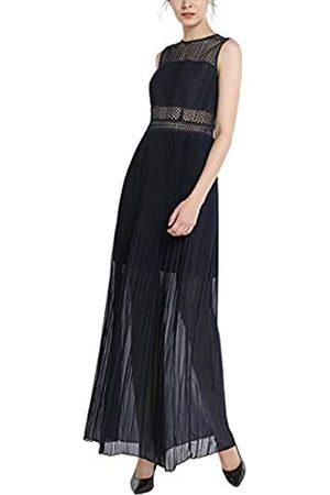 Apart APART Elegantes Damen Kleid, Abendkleid, lang, blau, schmaler Schnitt, mit Spitze, plissierter Rockpart, teilweise transparent