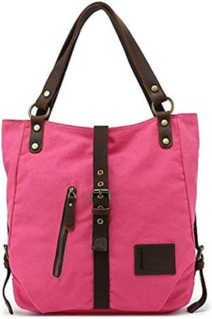 Hanalilly Umwandelbarer Rucksack Geldbörse aus echtem Leder Canvas