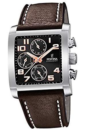 Festina Herren Chronograph Quarz Uhr mit Leder Armband F20424/7