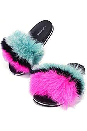 Cape Robbin Candy Lush Kunstfell-Sandalen, modische Sandalen, Flip-Flops, Pink (multi)
