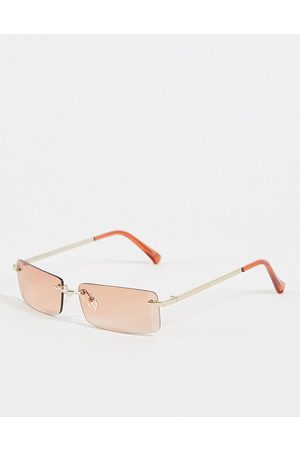 Jeepers Peepers – Rechteckige Unisex-Sonnenbrille in Gold-Goldfarben