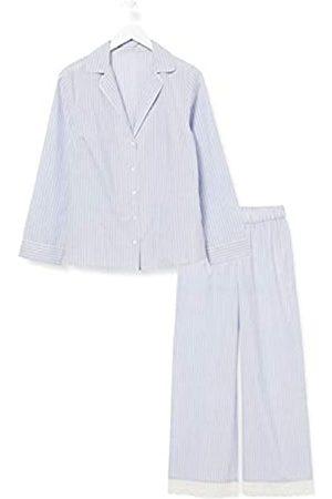 IRIS & LILLY Damen Pyjama-Set aus Baumwolle, Blau (blau gestreift), XL