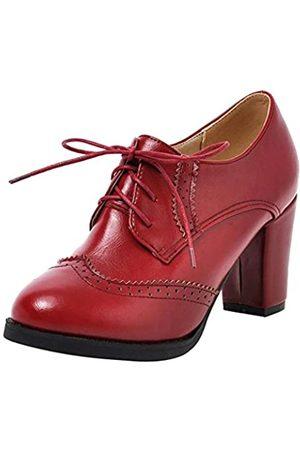 Dear Time Damen-Brogue-Schuhe mit Blockabsatz und Flügelspitzen, Oxfords