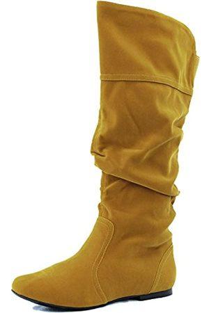 Qupid Damen Klassische Slouchy Flache Kniehohe Stiefel Schuhe