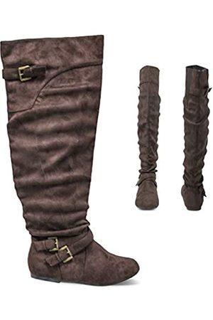 Twisted Shelly Damen Kniehohe Slouch Flache Weite Wade Stiefel Micro Wildleder Leder Schuhe