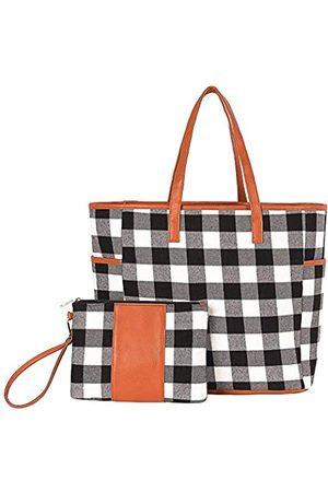 THOVSMOON 2-teiliges Set mit Handtaschen und Handgelenken für Damen, Schultertasche, Reisetasche, kann monogrammiert werden, (Weißer Büffelkaro)
