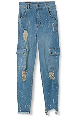 Gianni Kavanagh Mädchen Medium Blue Core Cargo with Bleach Splatter Jeans