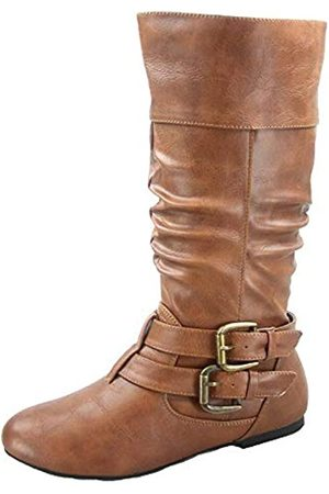 FOREVER FZ-Sonny-54 Women's Stylish Round Toe Buckle Zipper Slouchy Mid-Calf Riding Boots Shoes