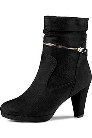 Allegra K Damen Wildleder Westernabsatz Reißverschluss High Heels Plateau Boots Stiefel 40