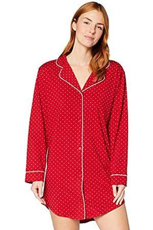 IRIS & LILLY Damen Langärmeliges Nachthemd aus Baumwolle, (Red Spot), XL