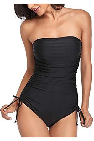 Smismivo Trägerlose Badeanzüge für Frauen, einteilig, gerüscht, Bandeau-Badeanzug, gepolstert, frech, schlankmachend, Bauchkontrolle