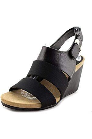 Alfani Womens ELLEANA Leather Open Toe Casual Platform Sandals, Black