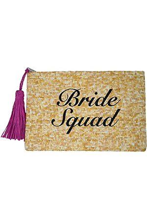 Funky Junque Damen Clutch, Strohhalm, Reisetasche, Mini-Reißverschluss, Handtasche, (Bride Squad - Natur)