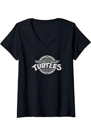 Nickelodeon Damen Mutant Ninja Turtles TMNT Sewer Logo T-Shirt mit V-Ausschnitt