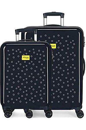 MOVOM Enso Bubbles Kofferset 55/68 cms Hartschalen ABS Kombinationsschloss 104L 4 Doppelräder Handgepäck