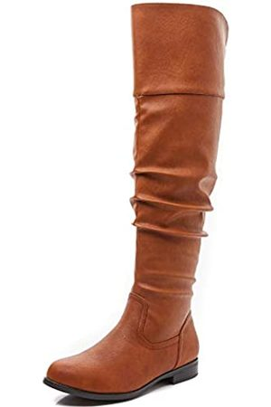 Savaii Damen Stiefel mit rundem Zehenbereich, niedriger Absatz, kniehoch und hoch, Mehrfarbig (hautfarben)