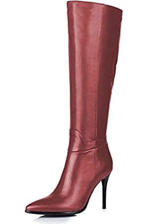 Amarantos Damenmode Slip on Side Zipper Kleid Stiletto Heel Leder Kniehohe Stiefel Matte Burgundy Größe 42