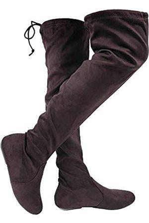Wells Collection Damen Overknee-Stiefel, weich, Stretch, Wildlederimitat, flacher Absatz, ( -1)