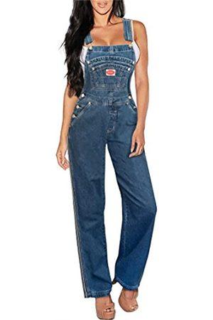 Revolt Damen klassische Jeans-Latzhose Große