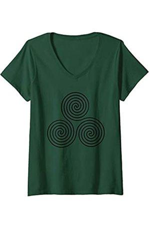 Biped Boutique Damen Newgrange Symbol- Triskelion Triskele Ireland Irish Spiral T-Shirt mit V-Ausschnitt