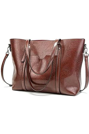 FADPRO Large Tote Bags for Women PU Leather Satchel Purses and Handbags Shoulder Bag for Work Fits 14 Inch Laptop - Coffee