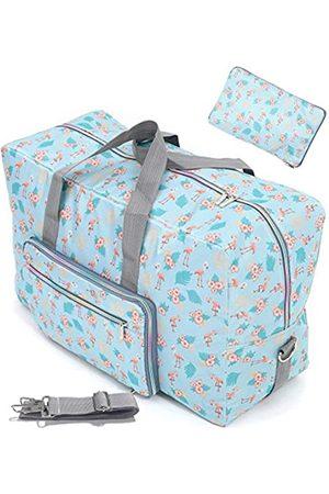 WFLB Große, faltbare Reisetasche für Frauen und Mädchen, niedliches Blumenmuster, Wochenendausflüge, zum Handgepäck, karierte Gepäcktasche, Krankenhaustasche, Handtasche