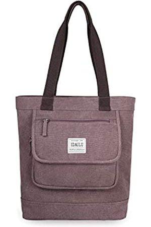 IDAILU Damen Schultertasche Canvas Multi Pocket Large Work Travel Bag Mädchen Damen Handtasche, (rosarot)