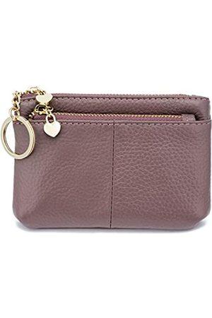ZOOEASS Coin Purse Women Genuine Leather Zip Mini Purse With Key Ring Triple Zipper Card Holder Wallet (Purple)