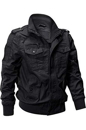 EKLENTSON Herren Baumwolle Leichte Multi Taschen Reißverschluss vorne Stehkragen Military Jacken Windbreaker - - Large